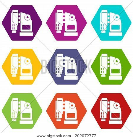 Pneumatic hammer machine icon set many color hexahedron isolated on white vector illustration