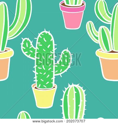 Seamless pattern with cactus. Pattern of cactus. Cacti in pots. Vector background. Cute cartoon cactus pattern.