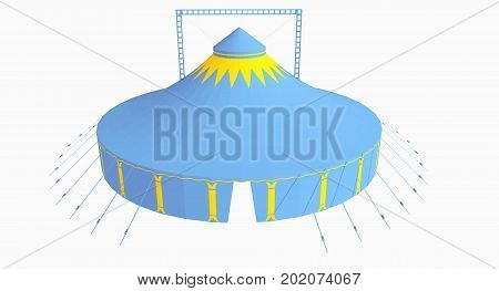 3D modell of a big top, two pole tent, in blue and yellow with blanc background. Party tent, event tent, chapiteau