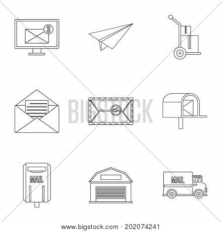 Send mail icons set. Outline style set of 9 send mail vector icons for web design