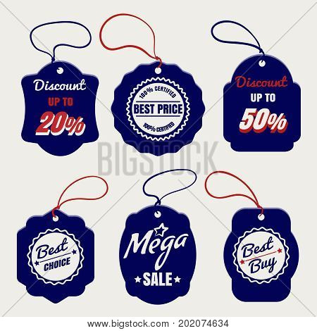 Sale and discount prices labels design, vector illustration