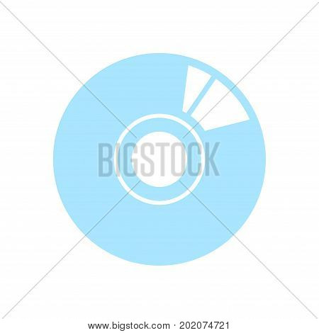 CD or DVD icon. Compact disk simbol. Flat design style.