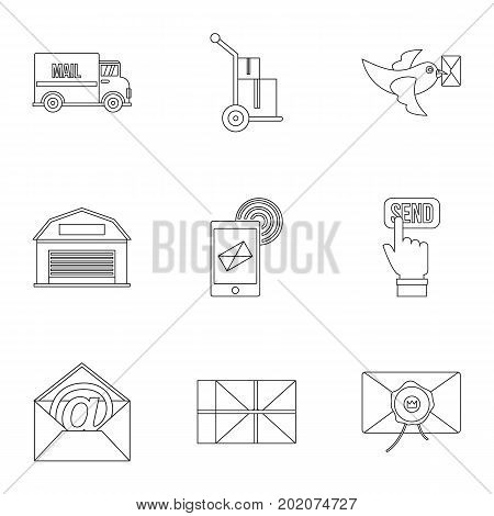Mail delivery icons set. Outline style set of 9 mail delivery vector icons for web design
