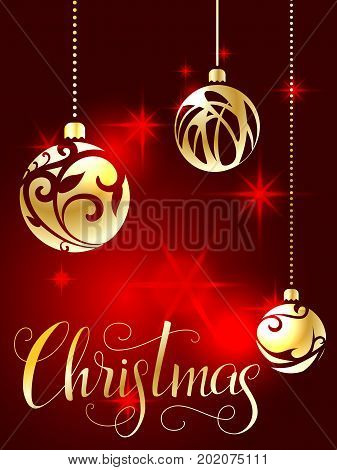 Christmas lettering. Hand written Christmas poster. Modern hand lettering on a red background with golden Christmas balls. vector illustration