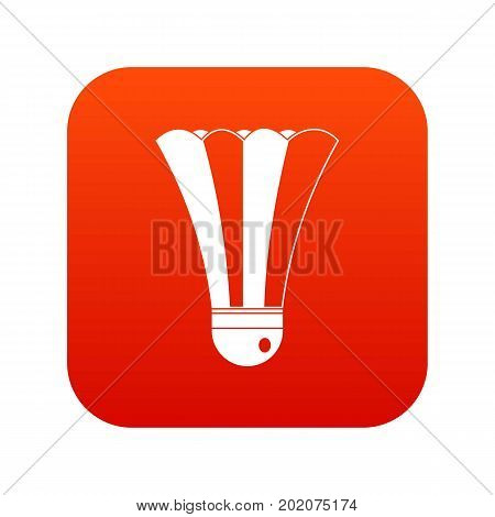 Black and white shuttlecock icon digital red for any design isolated on white vector illustration