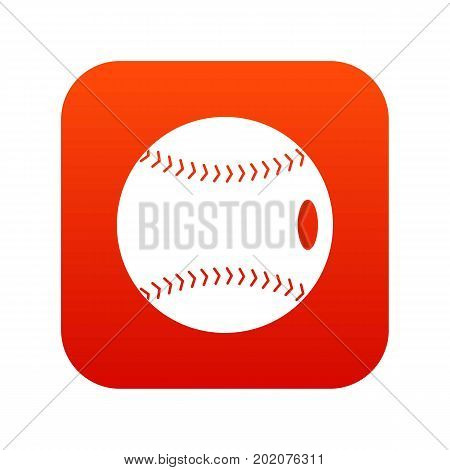 Baseball ball icon digital red for any design isolated on white vector illustration