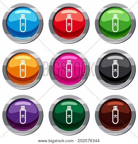 Infected USB flash drive set icon isolated on white. 9 icon collection vector illustration