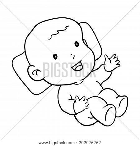 Hand drawing of loughing baby isolated on white background. Black and White simple line Vector Illustration for Coloring Book - Line Drawn Vector