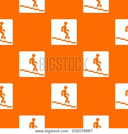 Underpass road sign pattern repeat seamless in orange color for any design. Vector geometric illustration