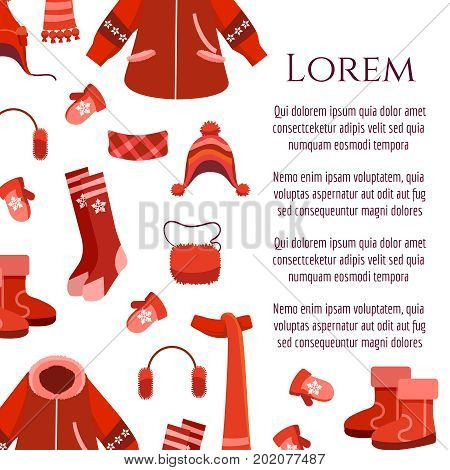 White poster with red winter clothing and accessorises and boots, vector illustration