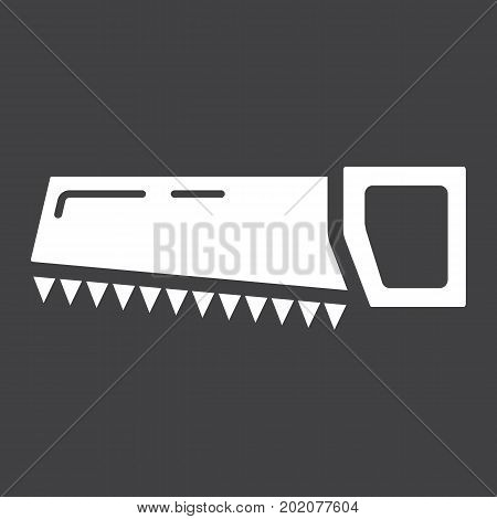 Hand saw glyph icon, build and repair, handsaw sign vector graphics, a solid pattern on a black background, eps 10.