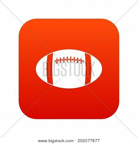Rugby ball icon digital red for any design isolated on white vector illustration
