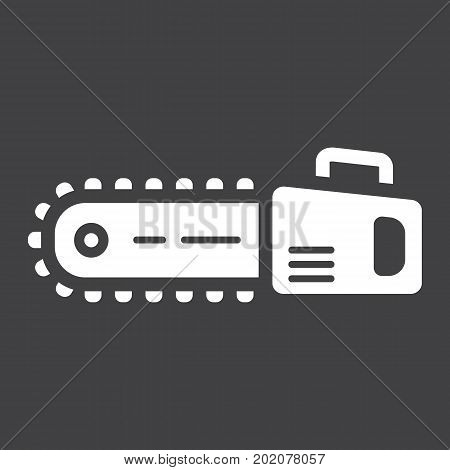 Chainsaw glyph icon, build and repair, electric saw sign vector graphics, a solid pattern on a black background, eps 10.
