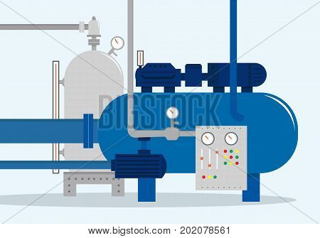 Cargo storage complex, container for water, gas, chemical and oil. Vector illustration, flat style.