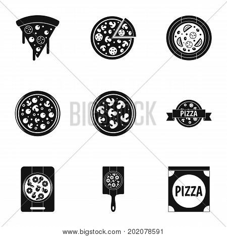 Tasty pizza icons set. Simple style set of 9 tasty pizza vector icons for web design