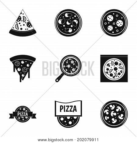 Pizza assortment icons set. Simple style set of 9 pizza assortment vector icons for web design