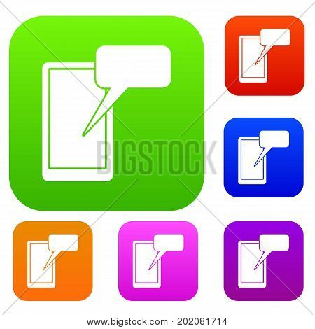 Mobile chatting set icon in different colors isolated vector illustration. Premium collection