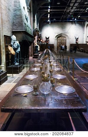 The Set Of The Great Hall As Hogwarts, Leavesden, Uk