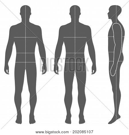 Fashion body full length bald template figure silhouette (front back and side views) vector illustration isolated on white background