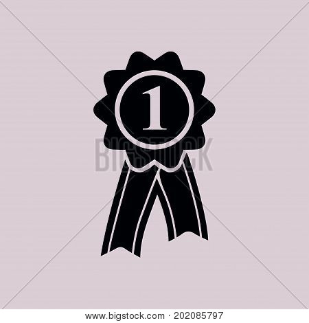 Badge with ribbons icon. Award rosette with ribbon simbol.