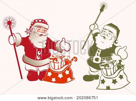 Christmas silhouette with Santa Claus with arms apart, staff and bag, set