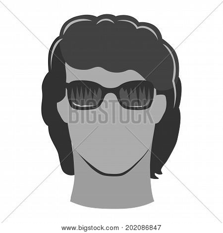 Closeup front portrait of a young curly man in sunglasses vector illustration isolated on white background