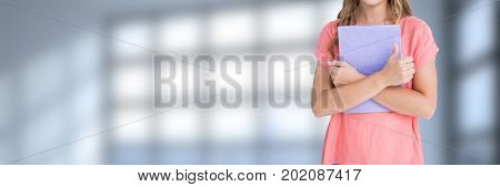 Digital composite of Woman holding files and folders