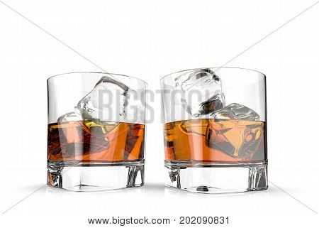 Glasses of whiskey with ice cubes isolated on a white background. 3d illustration,