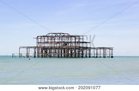 Derelict pier destroyed by fire at Brighton UK