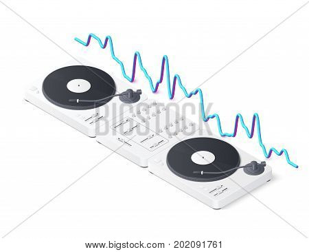 DJ mixer panel, turntables and wave equalizer isolated on white background. Isometric Vector illustration
