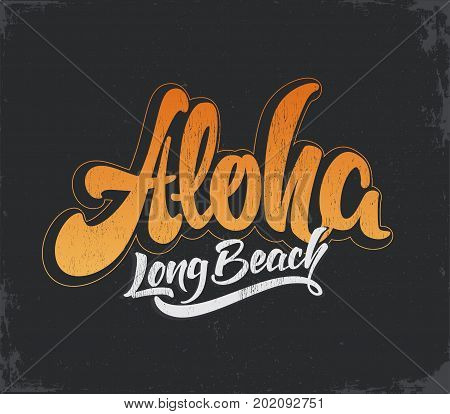 Aloha surfing lettering. Vector calligraphy illustration. Tropical t-shirt graphics