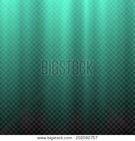 Teal flare. Nautical blue polar rays. Glaring effect with transparency. Abstract glowing light background. Graphic element for documents, templates, posters, flyers. Vector illustration