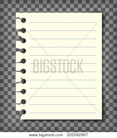 Blank lined note book page with torn edge. Notepaper mockup. Graphic design element for text, advertisement, doodle, sketch, scrapbooking. Paper piece with lines. Realistic vector illustration