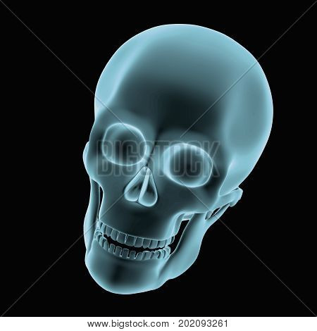 Halloween Skull In Blue Over A Black Background