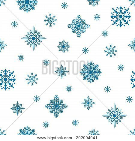 Christmas seamless pattern. Snow flakes backdrop. Tileable background for winter holidays. Graphic design element for packaging paper, prints, scrapbooking. Holiday themed design. Vector illustration