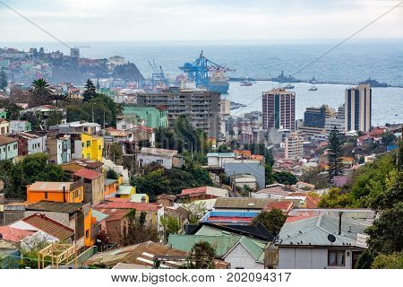 View of Valparaiso Chile with the port in the background