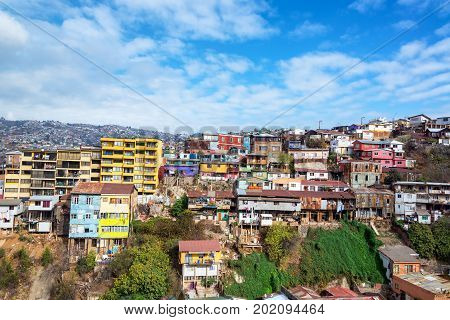 Colorful buildings and beautiful blue sky in Valparaiso Chile