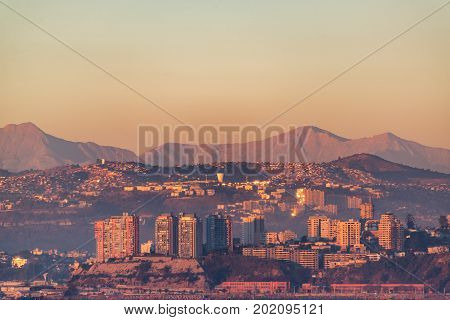 View of the hills overlooking Valparaiso Chile as sunset