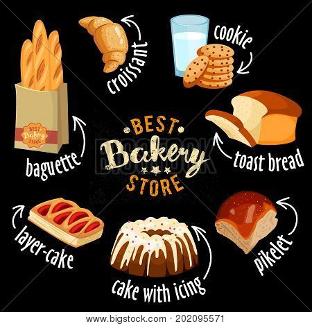 Bakery shop vector icons. Baked bread products wheat, rye bread loafs, bagels, sliced bread toasts, croissant, bun, cherry pie, cookies with chocolate, glass of milk, cake with icing.