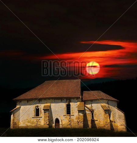 haunted old church at sunset abandoned damaged building