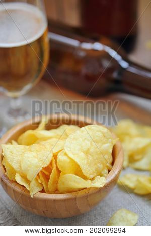 Potato Chips In Bowl And Beer. Fast Food.