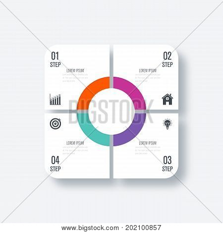 Business infographics template 4 steps with square. Stock vector. Dynamic infographics stylish geometric. element for design business invitations, gift cards, flyers and brochures