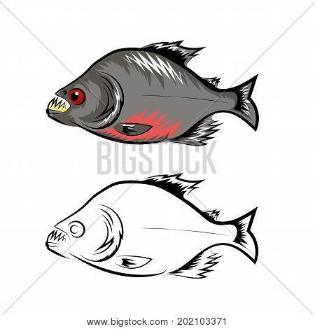 Fish Blue Silhouettes Isolated on White Background