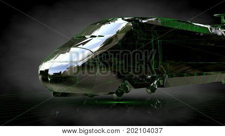 3D Rendering Of A Reflective Train On A Dark Black Background