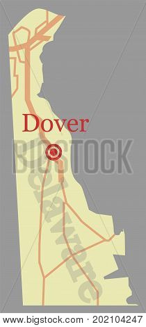 Delaware vector State Map with Community Assistance and Activates Icons Original pastel Illustration isolated on gray background.