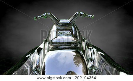 3D Rendering Of A Reflective Jet Ski On A Dark Black Background