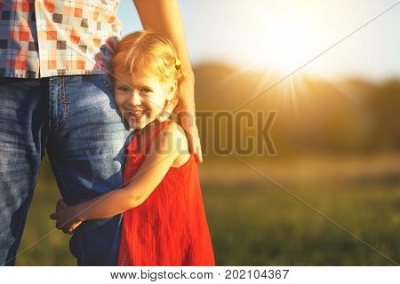 Father's day. Child girl hugging father in nature at sunset in summer