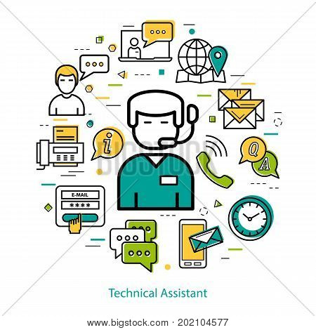 Vector round concept of manager online, technical support. Businessman with microphone and many different business icons around