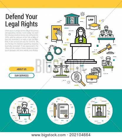 Vector header template of legal issues and judiciary service. First screen of the web site and icons with judge on the podium and scales, courthouse, attorney, jury and prison