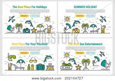 Vector four header template of summer holiday. First screen of web site with two buttons and vacation icons palm tree, camera, kitesurfing, plane, drink and jumping dolphin on white background